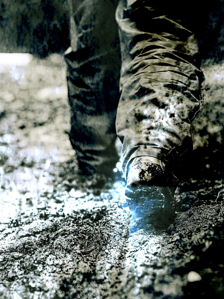 Walking in mud